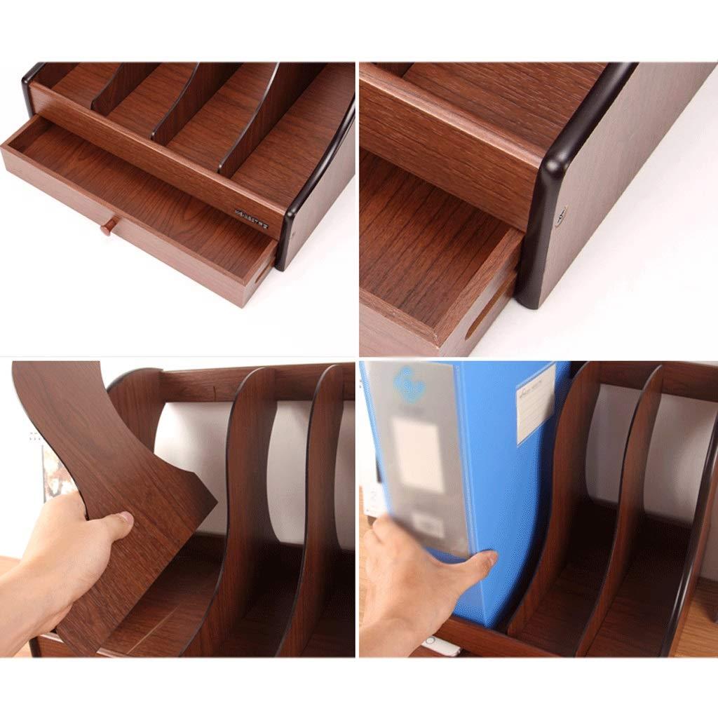 File Holder Wooden Four mit Schublade Schublade Schublade File Box File Holder Multifunktions-File Bar-Aufbewahrungsbox - Braun B07Q866D19  | Ideales Geschenk für alle Gelegenheiten  259a93