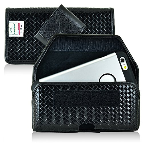 - Turtleback Belt Case Holster Made for iPhone 7 Plus, 8 Plus, Samsung S7 Black Basketweave Leather Police Duty Belt Pouch with Heavy Duty Rotating Belt Clip, Horizontal (Hook & Loop fastner Closure)