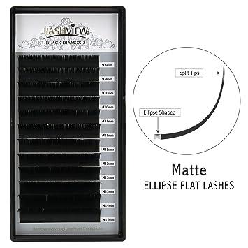 32cd0df43a1 Amazon.com : LASHVIEW SUPER Matte Mink Black Ellipse Flat Eyelashes  Extensions 0.15mm C Curl Flat Eyelash Extension Mixed Tray 8-15mm  Semi-permanent ...