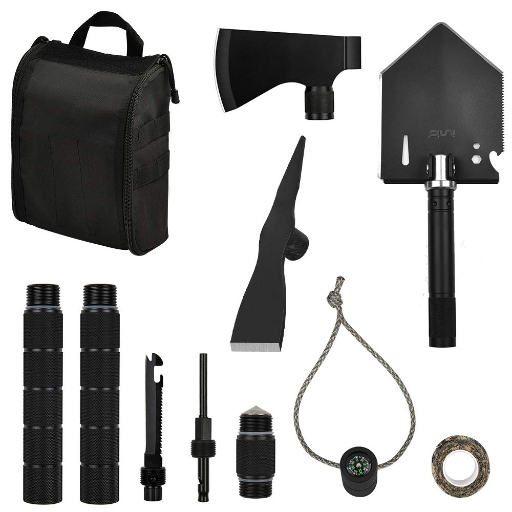 IUNIO Survival Off-Roading Tool Kit Folding Shovel Camping Axe Multitool Pickaxe with Carrying Bag for Outdoor Car Emergency (Basic Black) by IUNIO