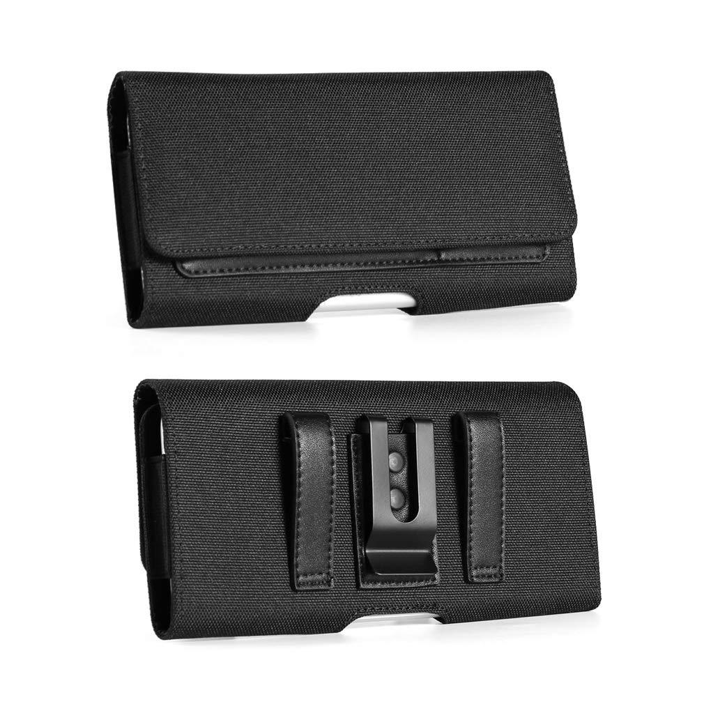 Outdoor Work Nylon Phone Pouch Belt Clip Holster Case w/Belt Loop ID Credit Card Slots for LG V50 ThinQ, V40 ThinQ, V20, Stylo 4, Razer Phone 2, Blu Vivo XL4, Vivo X, Xiaomi Mi A2, Note 6 Pro, Note 5
