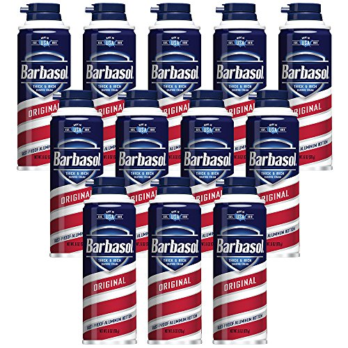 Barbasol Original Thick and Rich Shaving Cream for Men, 6 oz, Pack of 12 by Barbasol