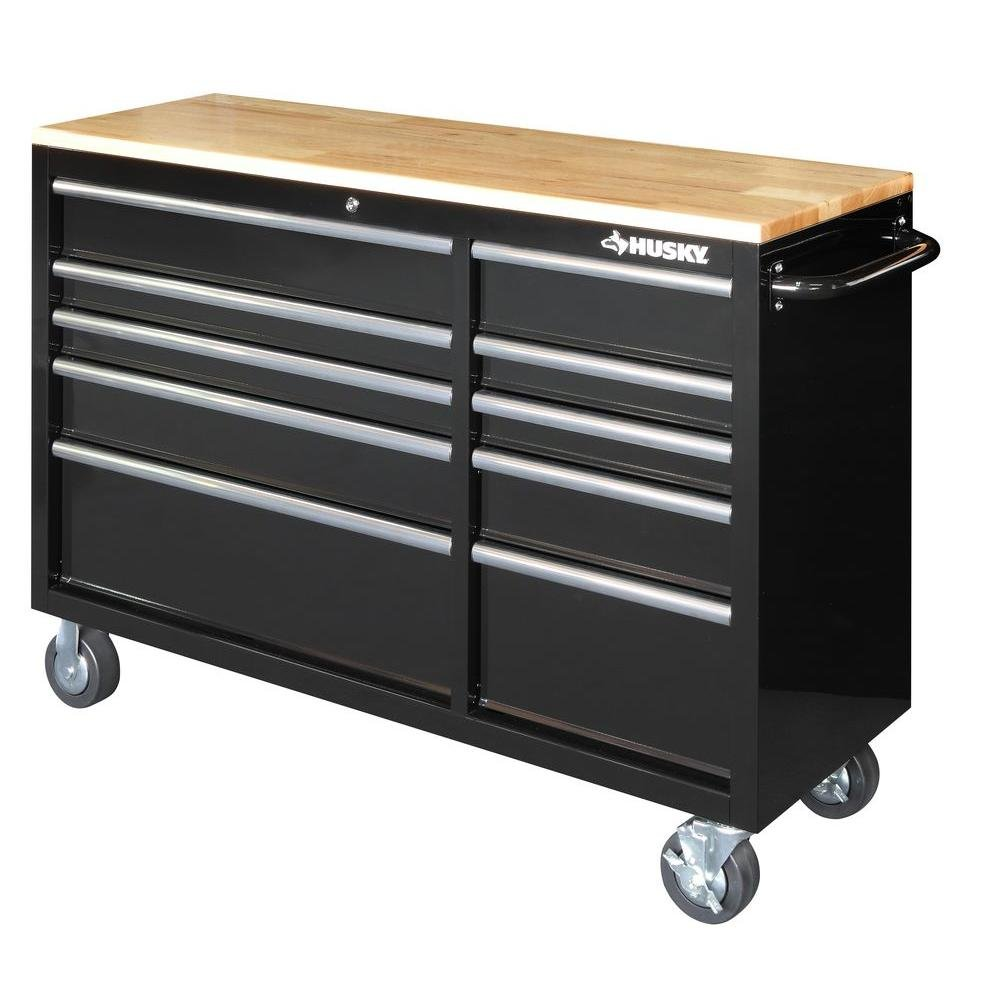 Husky Drawer Heavy-Duty Tool Chest (52 in. 10-Drawer Mobile Workbench with Solid Wood Top, Black)