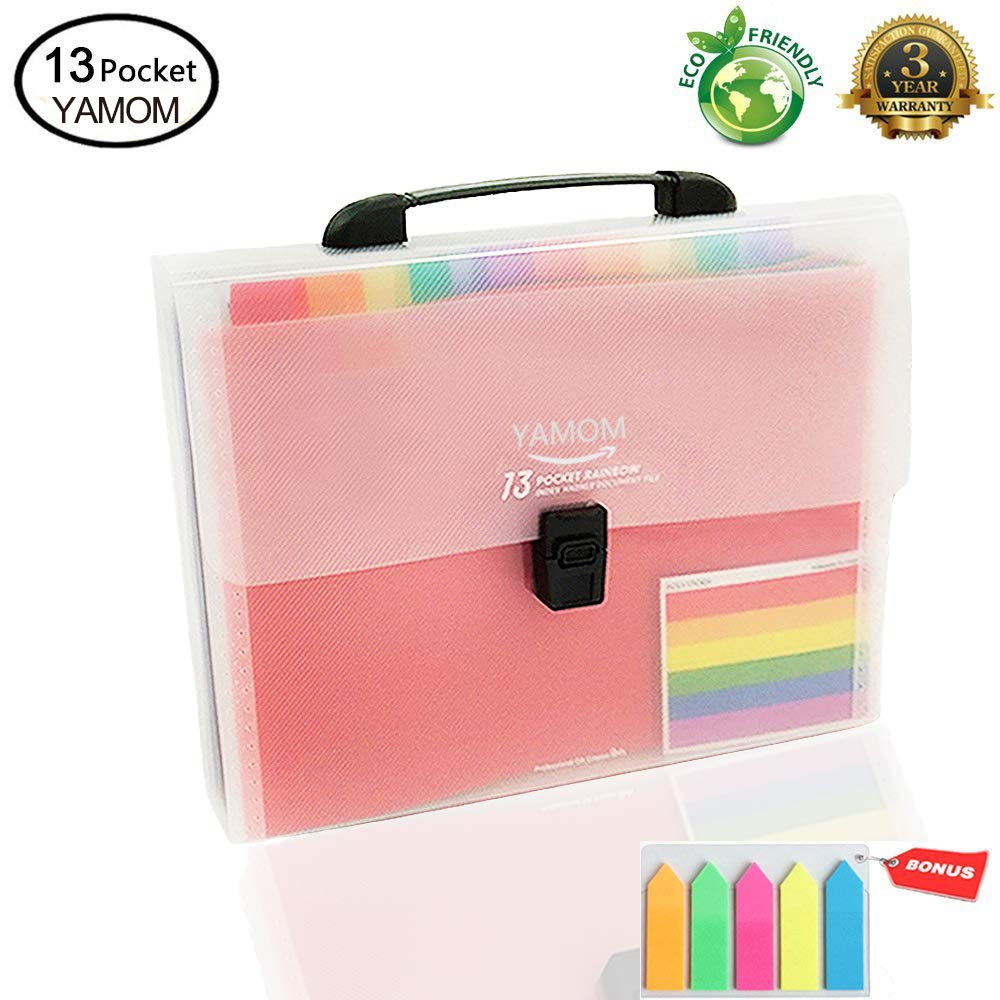 Accordion Folder File Organizer 13 Pockets Expanding A4/Size Letter Paper Multi-Colour Large Capacity Portable Box Document Stand Bag -Bonus Labels for Office, Business, Study