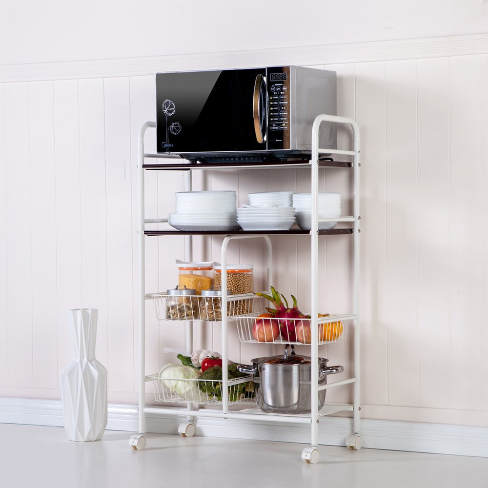 WAJJ 4-Tiers Baker's Rack for Kitchens Double Row Mesh Basket Multi-Functional Kitchen Cabinet with Wheel (17.32'' x 10.24'' x 40.94'') Coffee