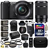 Sony Alpha A5000 20.1 MP Interchangeable Lens Camera with 16-50mm OSS Lens (Black) ILCE5000L & Sony E 55-210mm F4.5-6.3 OSS Lens for Sony E-Mount Cameras with Advanced Accessories Bundle Kit includes Sony HVL-F20M External Flash + 32GB Class 10 SDHC Memor