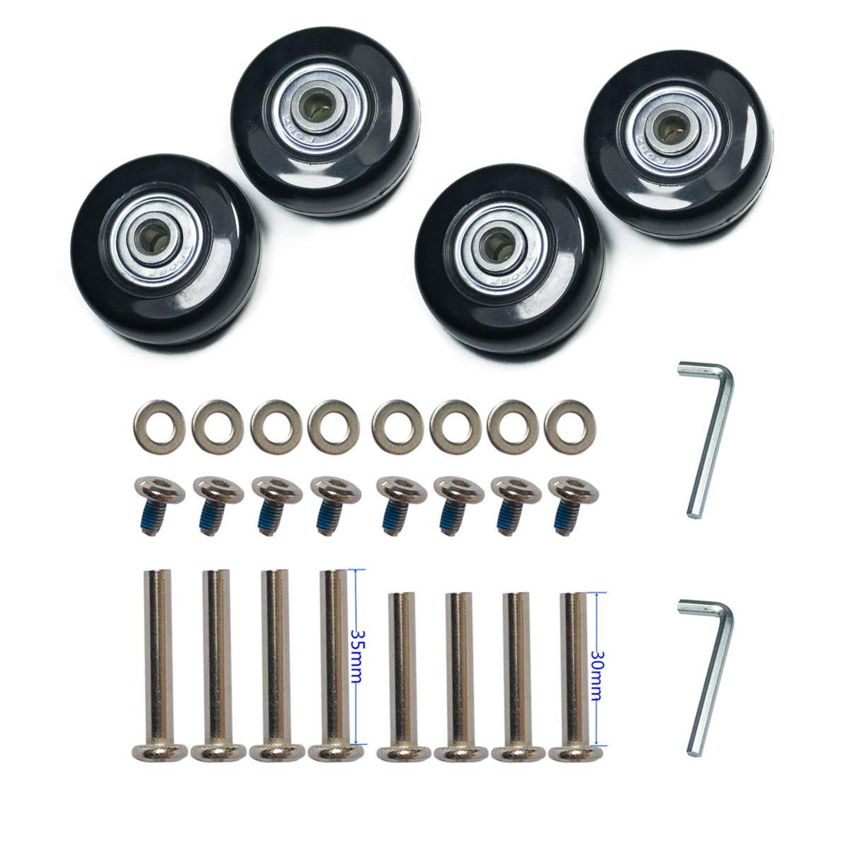 F-ber Wear-Resistant Luggage Suitcase Wheels Replacement Kit 50mm x 18mm Wheels ABEC 608zz Skate Inline Outdoor Replacement Wheels, One Set of (4) Wheels (OD:50 W:18 ID:6 Axles:30, Axles:35) by F-ber