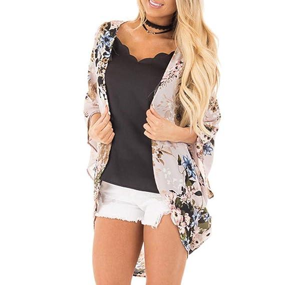 Bestow Blusa Estampada Kimono Playa Blusa de Moda para Mujer Chal Gasa Top Cover Up Blusa