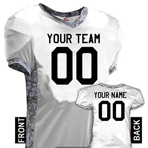 Hardkor Sports Command Digital Camo Print Custom Football Jersey, Adult large, White (Heavyweight Two Button Jersey)