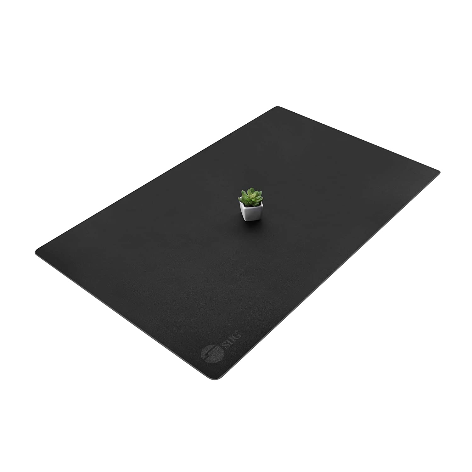 """SIIG Artificial Leather Smooth Desk Mat Blotter Protecter - 36"""" x 22"""" Desk Pad with Non-Slip Water Repellent Protection for Office and Home - Black"""