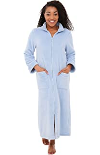 Alexander Del Rossa Womens Relaxed Fit Zip-Front Fleece Robe, Zipper Bathrobe