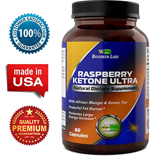 Pure Raspberry Ketones – Weight Loss and Energy Supplement – Natural Fat Burner, Highest Quality Raspberry Extract – Appetite Suppressant – USA Made By Biogreen Labs