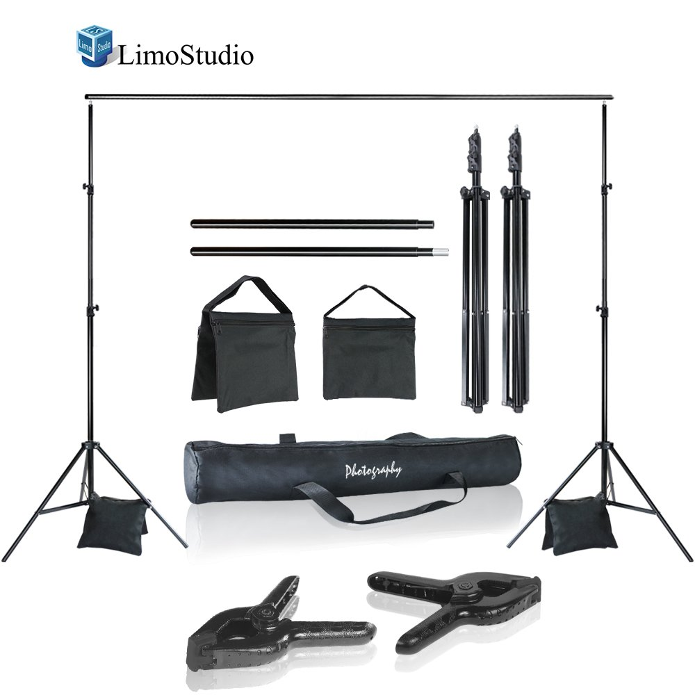 LimoStudio Photo Video Studio 10 ft. Width Adjustable Background Stand Backdrop Support Structure System Kit with Photo Clamp and Sand Bag, Photography Studio, AGG2348V2