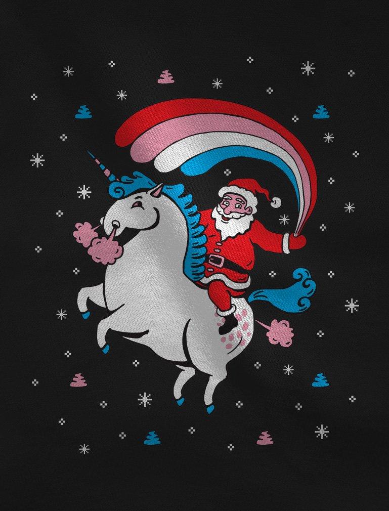 TeeStars - Santa Riding Unicorn Rainbow Ugly Christmas Sweater Sweatshirt 4