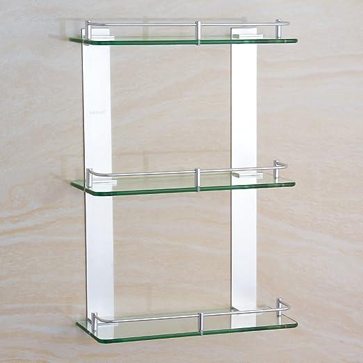 ZXQZ Espacio de Aluminio de Tres estanterías de Cristal ...