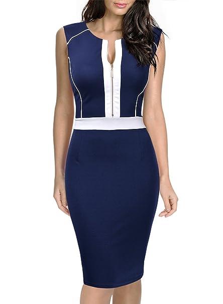 Miusol® - Vestido - ajustado - Sin mangas - para mujer Azul azul marino 38