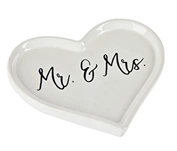 mr and mrs heart shaped wedding ring dish