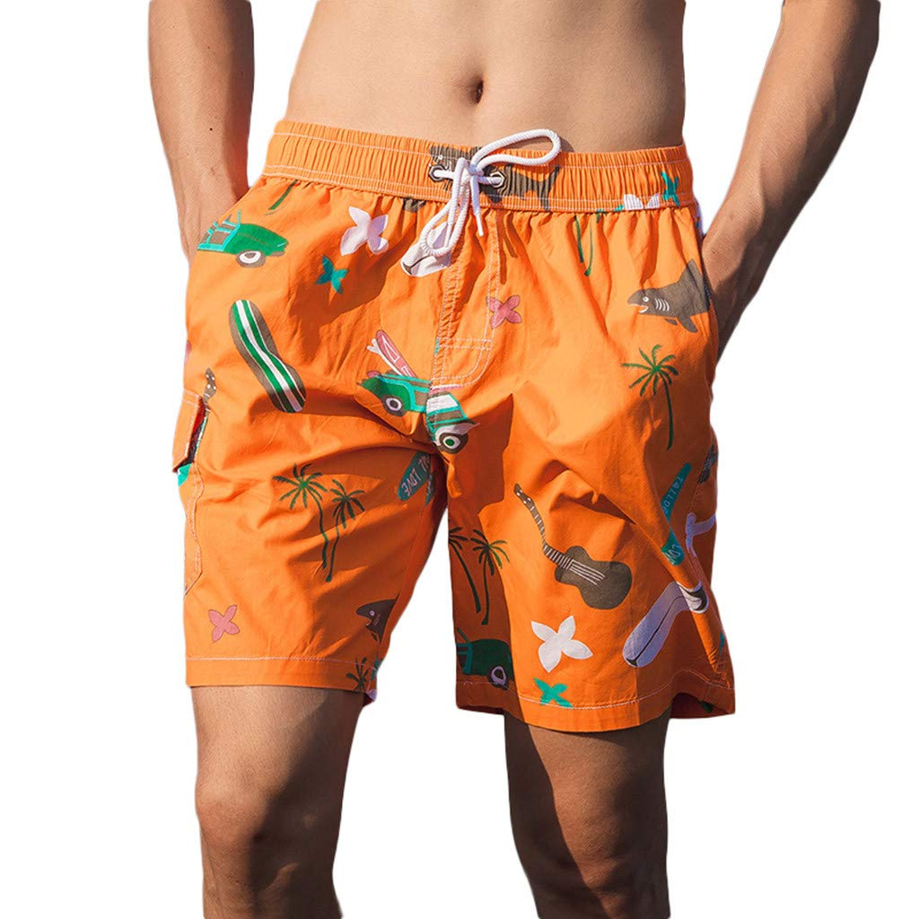 NUWFOR Men's Printed Double-Pocket with One Middle Pocket Loose Elastic Rope Beach Pants(Orange,US XS Waist:26.77-38.58'')