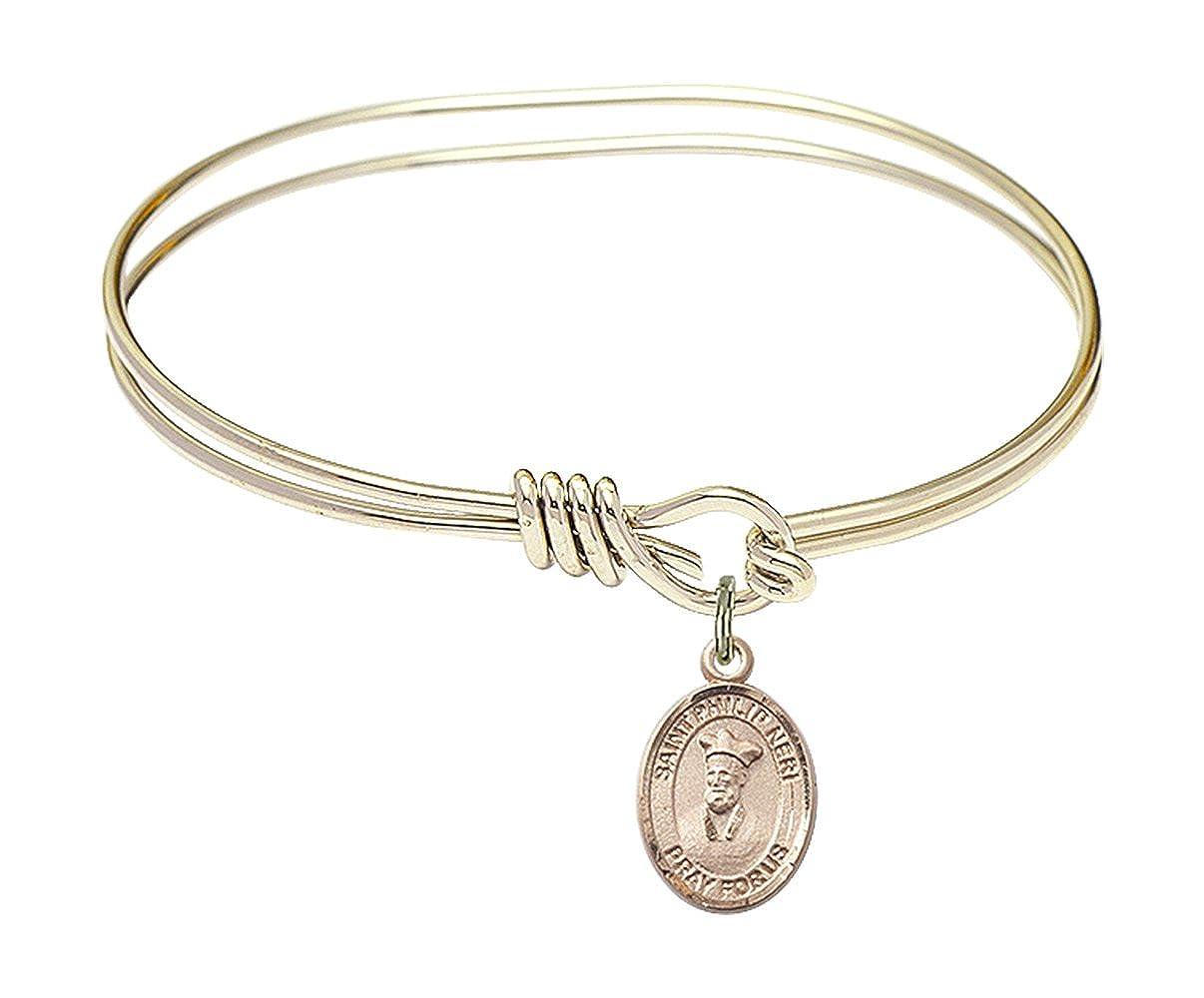 Philip Neri Charm On A Child Sized 5 3//4 Inch Oval Eye Hook Bangle Bracelet St