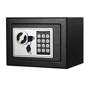Safe Box, Dorlfin Digital Small Safe Steel Electronic Safe Deposit Box with Lock Keypad for Money Jewelry Security Cabinet Black