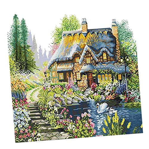 Cottage Sampler - SM SunniMix Full Range of Embroidery Starter Kits Stamped Cross Stitch Kits Beginners for DIY Embroidery with Cottage Pattern