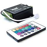 HitLights LED Light Strip Music Controller 12V-24V, Sound Activated - Includes 24 key remote, for SMD5050 RGB Multicolor LEDs