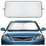 AUDEW Car Windshield Sunshade Windshield Cover to Keep Vehicle Cool & Damage Free, Car Sun Shade Sun Visor UV Ray Reflector for Full-Size Vehicles (59 x 28 Inches)