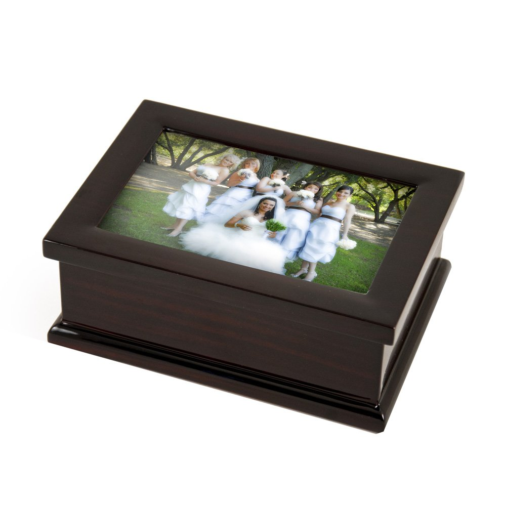 Sophisticated Modern 4 X 6 Photo Frame Musical Jewelry Box - On the Wings of Love - SWISS