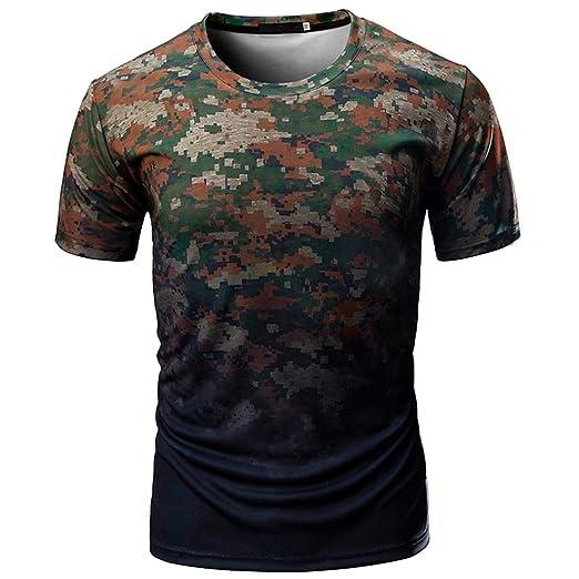 ff6209a95 Jushye Hot Sale!!! Men's Tee, Summer Men Short Sleeve Casual Camouflage  Print
