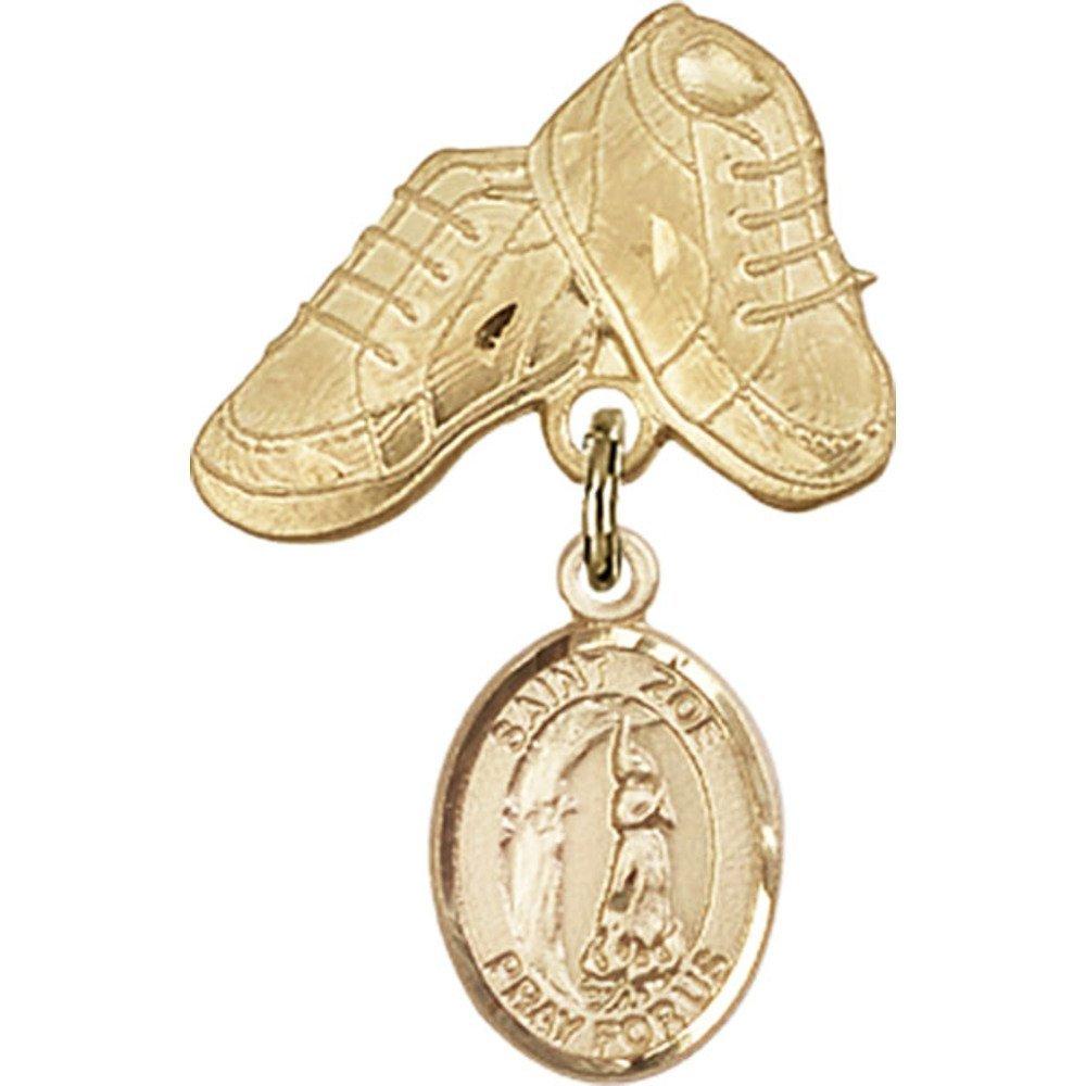 ゴールドFilled Babyバッジwithローマの聖Zoeチャームとベビーブーツピン1 x 5 / 8インチ   B00PQ7V39Y