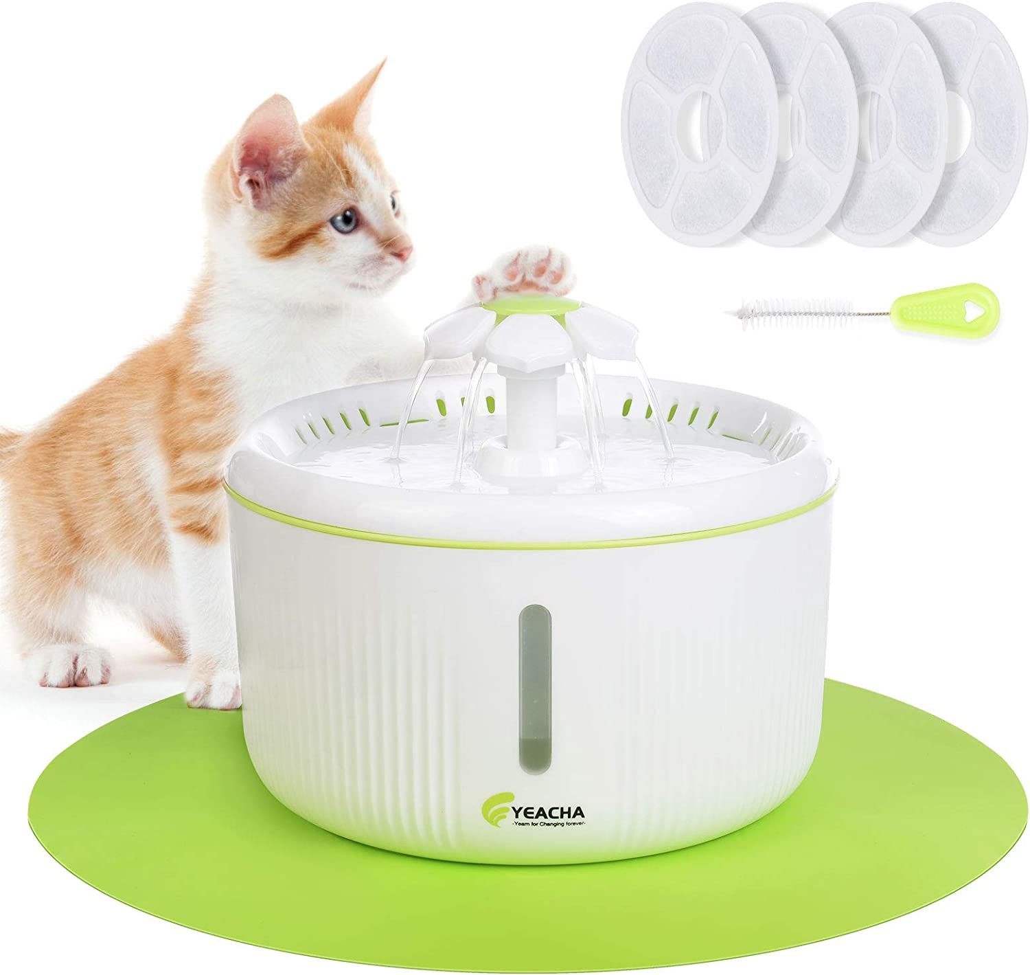 Dog Water Dispenser with 4 Replacement Filters 70oz//2L Drinking Fountains Bowl with LED Light for Cat and Small Dogs YEACHA Cat Water Fountain Multiple Pets
