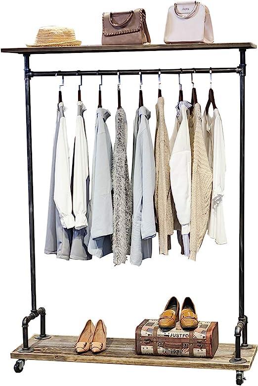 Amazon.com: Industrial tubo de hierro perchero de ropa ...