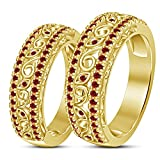 TVS-JEWELS Luxury Style Exquisite Gift Garnet Stone 14k Gold Plated Couple Ring Set