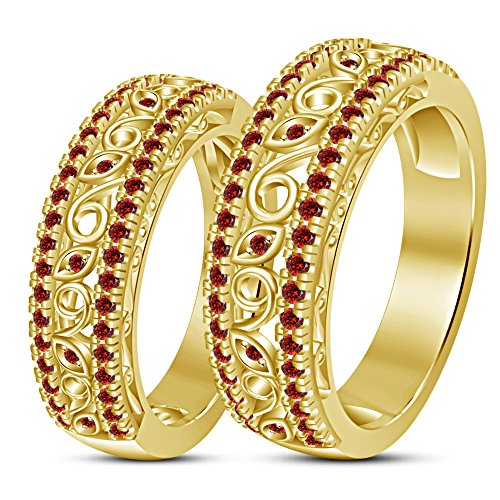 TVS-JEWELS Luxury Style Exquisite Gift Garnet Stone 14k Gold Plated Couple Ring Set by TVS-JEWELS