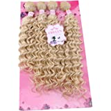 """FRELYN Deep Wave Hair Bundles Blonde Curly Synthetic Hair Weave Extensions Color 613# 4 Pieces/pack (16"""" 18"""" 18"""" 20…"""