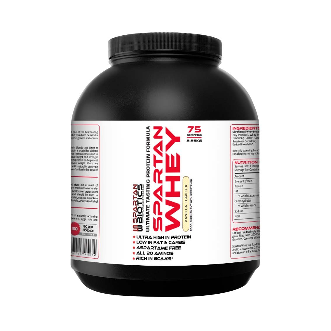 Spartan Biotics Premium Vanilla Whey Protein 2 25kg: Amazon co uk