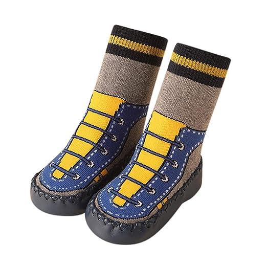 Mealeaf ❤ Toddler Baby Boy Girl Cartoon Moccasins Non Slip Indoor Slippers Socks