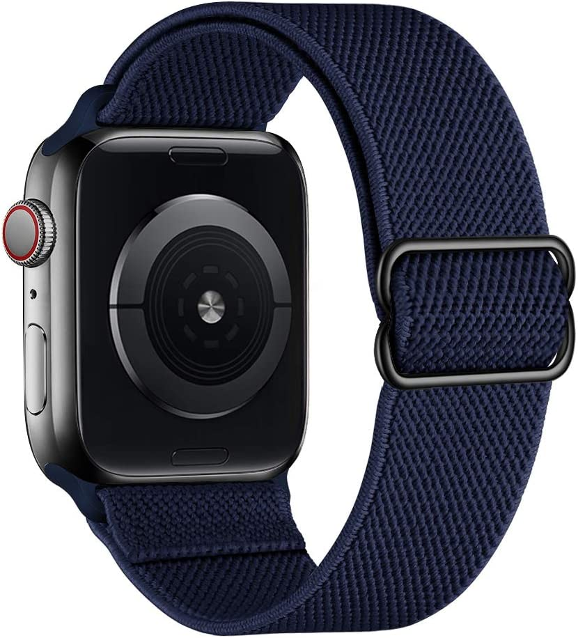SIRUIBO Stretchy Nylon Solo Loop Bands Compatible with Apple Watch 38mm 40mm, Adjust Stretch Braided Sport Elastic Women Men Strap Compatible with iWatch Series 6/5/4/3/2/1 SE, Midnight Blue