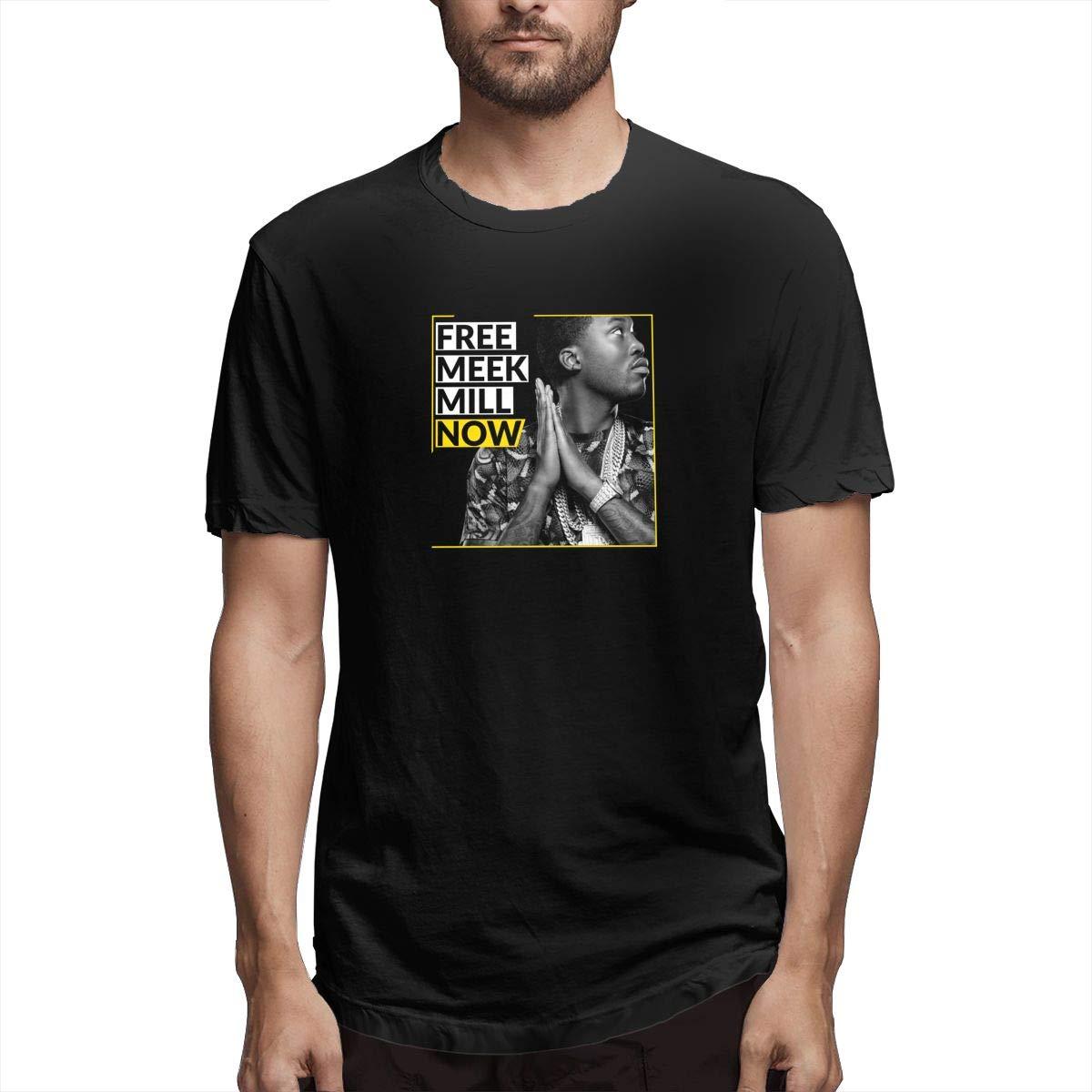 FengYuqi Meek Mill Mens Short Sleeves T Shirt Classic T Shirt Leisure T Shirt Black