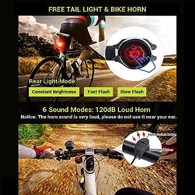 Daskoo Super Brillante Faro Impermeable para LED Bicicleta con Velocímetro Multifunción y Bocina, Luz Delantera de Bici Recargable por USB con Faro Integrado, Cuentakilómetros de Ciclo Multifunción: Amazon.es: Deportes y aire libre