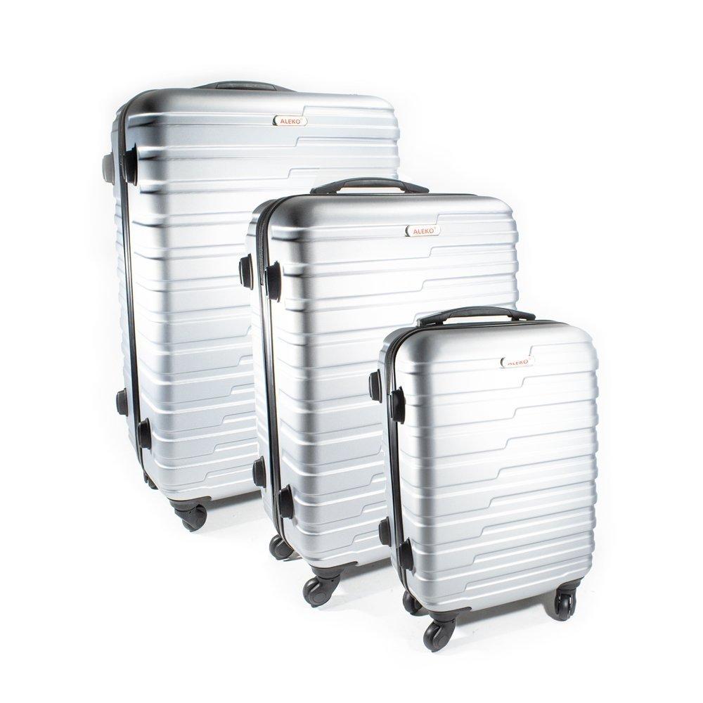 ALEKO LG915SL ABS Luggage Travel Suitcase Set with Lock 3 Piece Horizontal Stripe Silver