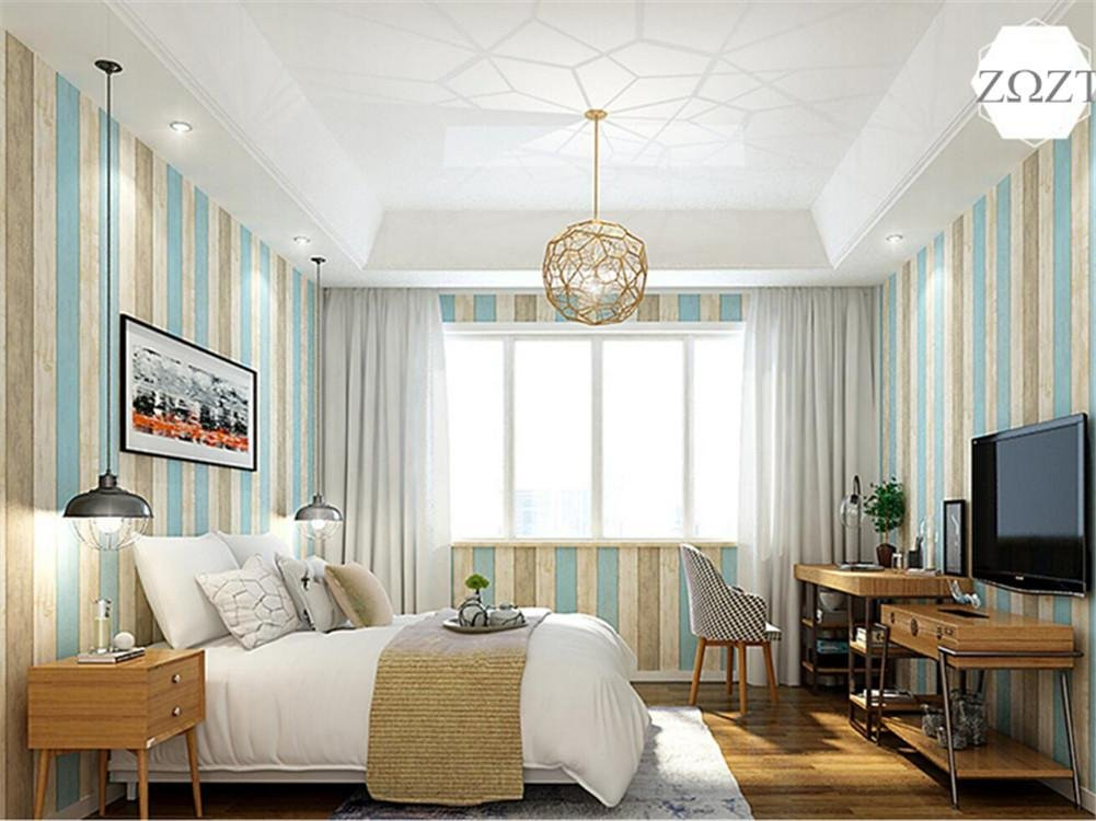 HM Papel pintado Vintage estilo mediterráneo patrón de rayas verticales rollo de papel tapiz 3D para la sala/dormitorio/TV Wall/tienda de ropa/hoteles ...