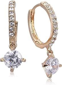 Trendy Fashion Crystal platinum plated 18K Austrian rhinestone Circle Earrings - Gold