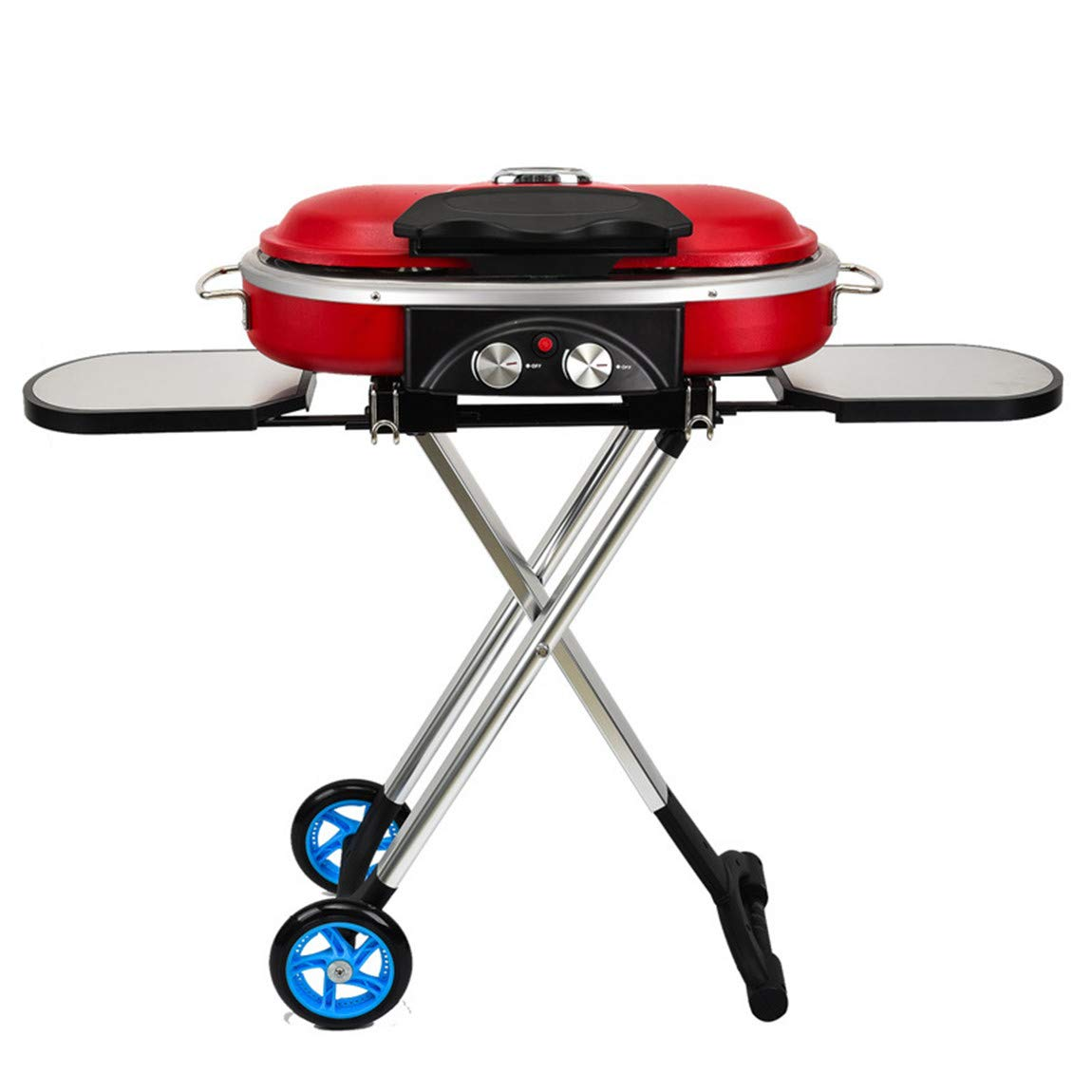 Xiaoai's shop Outdoor Portable Barbecue Machine, 600 Degrees Celsius high Temperature, Smoke-Free and Tasteless, eco-Friendly, Folding with Wheels, Slide and Walk,Red