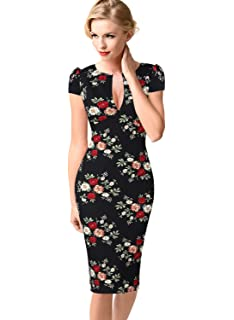 VFSHOW Womens Sexy Elegant Deep V Neck Peplum Cocktail Bodycon Sheath Dress