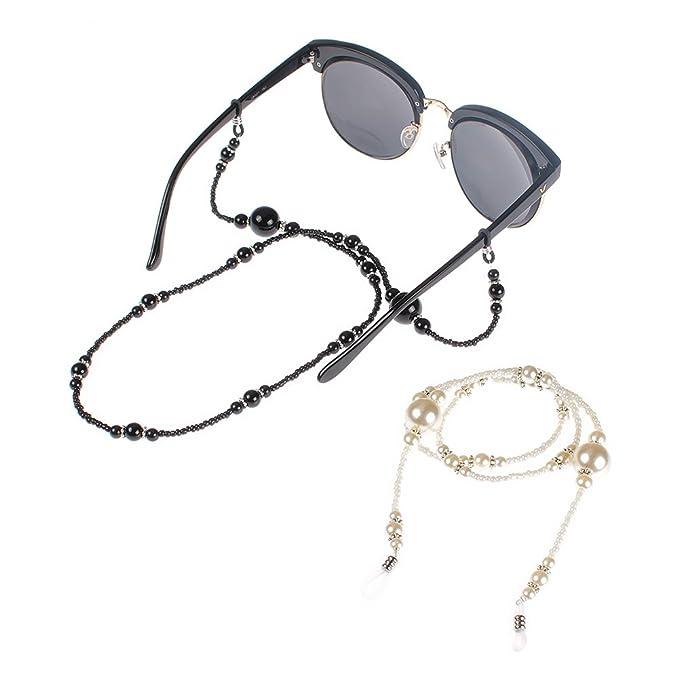 Soleebee 3 pezzi universali Corda per occhiali Moda Bicchiere Perline Cordino per occhiali/Corda per occhiali/Occhiali da sole Cordino per collo/portaocchiali sYyujjN