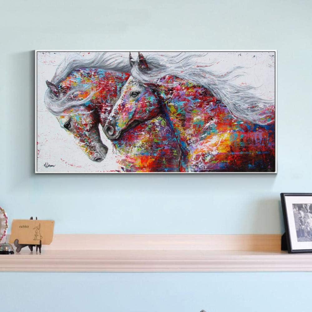 kldfig Pintura Abstracta de Gran tamaño, Lienzo, póster de Caballo, Estampados de Animales, Cuadros de Pared para Sala de Estar, decoración del hogar Cuadros Decoracion- 40x80 cm sin Marco