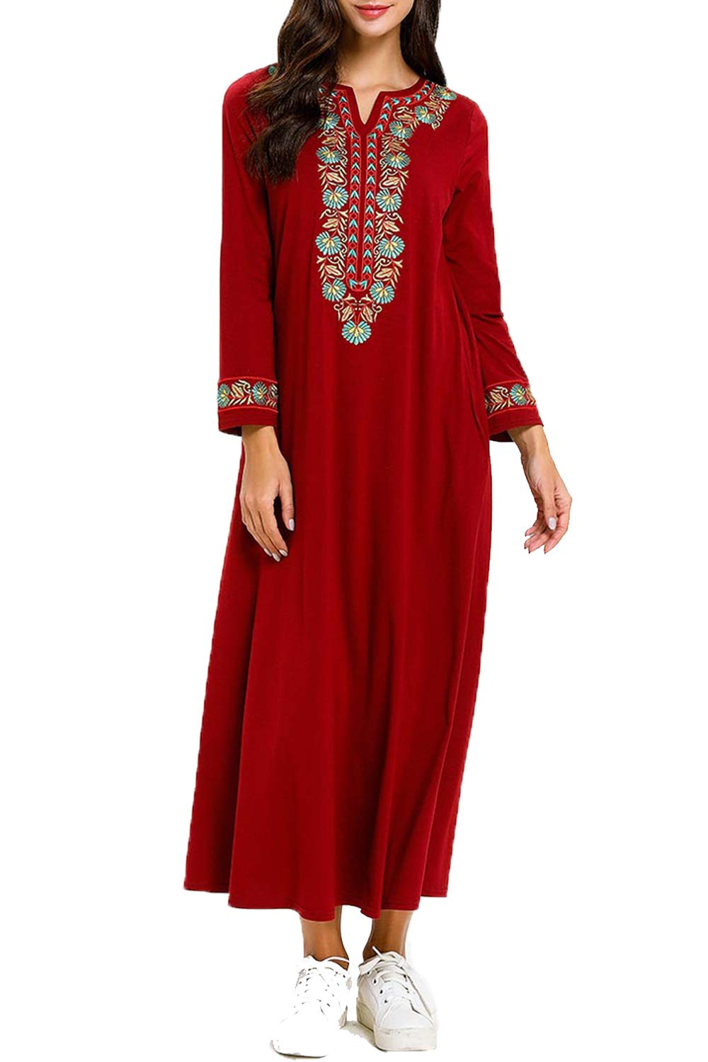 UAime Muslim Dress for Women Kaftan Long Sleeve Casual Maxi Dress Dubai Muslim Abaya Long Gown Long Dress