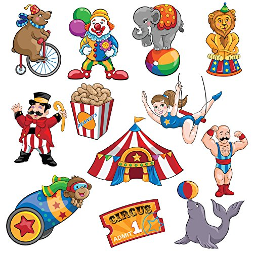 Blue Panda Carnival Cutouts Party Supplies - 12-Piece Circus Theme Birthday Party Favors Animals, Clown Performers, Colorful Print Design Decoration on 350 GSM -
