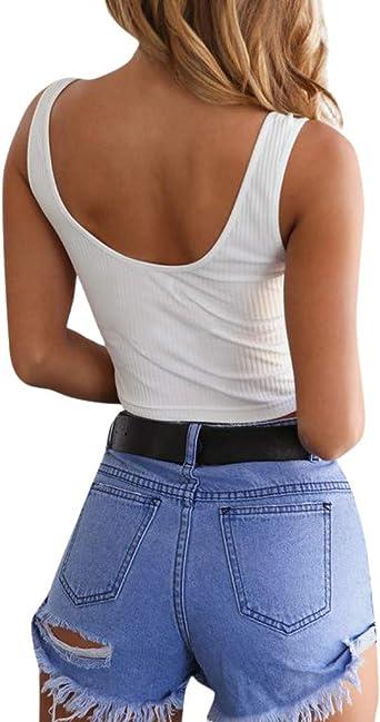 estivo sexy Lulupi Crop Top da donna con bottoni senza schiena senza maniche